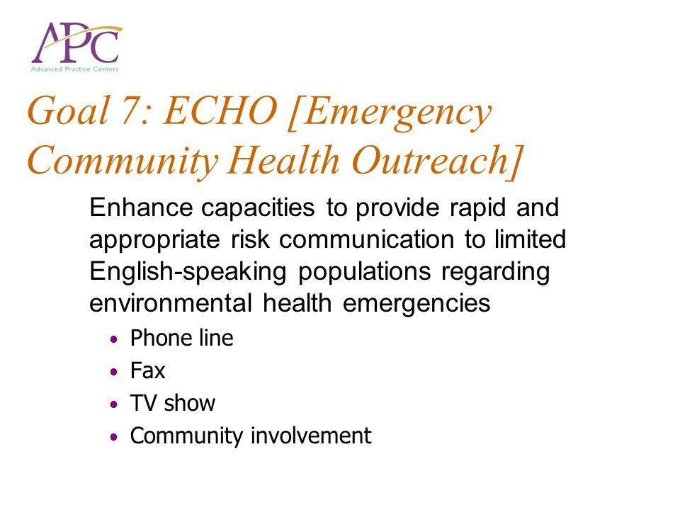 Goal 7: ECHO [Emergency Community Health Outreach]